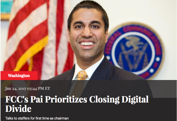 FCC's Pai Prioritizes Closing Digital Divide